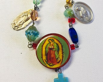 Virgin of Guadalupe Mixed Media Necklace