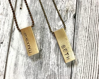 Raw brass bar hand stamped pendant with ball chain or leather cord