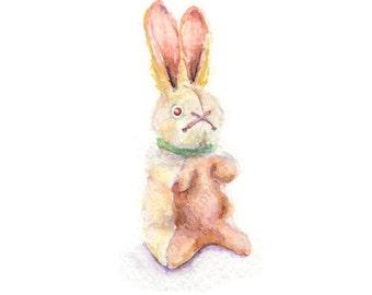 Watercolor Bunny, Stuffed Bunny Print, Toy Bunny Print