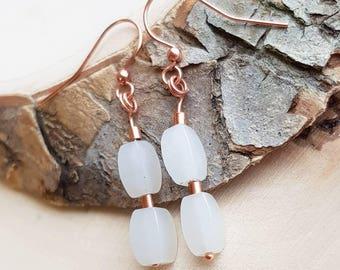 White Nephrite Earrings White Jade Earrings Nephrite Long Earrings Nephrite Dangle March Birthstone Anniversary Wife Gift Bridesmaid Earring