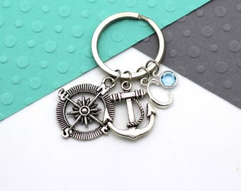 Travel Personalised Keychain, Anchor and Compass Custom Keyring, Personalized Birthstone & Initial, Letter, Alphabet Gift