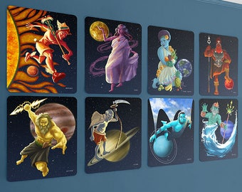 planet wall cards, 8 x 10, science art, solar system, baby geek, roman gods, kids wall art