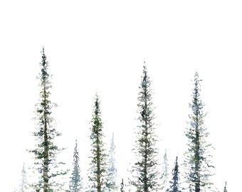 Pine Trees Art Print  - tree painting - greenery - christmas tree - mountains - forest - tree watercolor - fir tree - fir - pine tree
