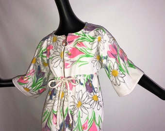 MOD Vintage 60s 70s Terrycloth Bathrobe 1960s 1970s Fluffy Terry Cloth Towel Robe White Flower Power Floral Swimsuit Cover Up Lord & Taylor