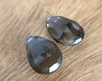 Smoky quartz pear teardrops beads