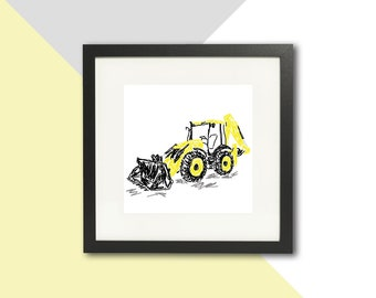 Yellow Digger framed print; Digger gift; Digger print; Farming gift; Children's gift