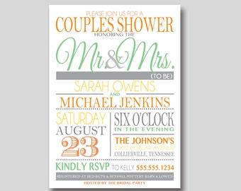 Typography Couples Shower Invitation - Custom Printable
