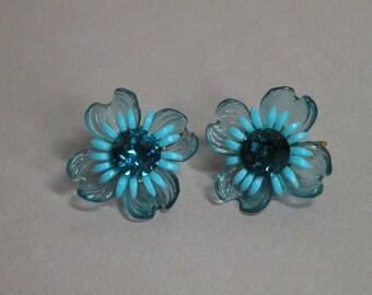 Aqua Flower Earrings