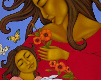 Mexican Folk Art Mother & Child Wall Decor Print of Original Painting By Tamara Adams