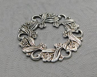 LuxeOrnaments Oxidized Sterling Silver Plated Stamping Wreath Focal 1 pc 29mm AT-93-S