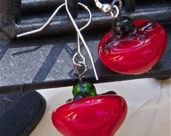Earrings red cherry lampwork dangle earrings festive holiday sterling findings apples glass