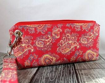 Zipper Pouch Clutch Wallet - Long Wallet - Cell Phone Wallet - Errand Runner - Evening Bag -  Red Yellow Paisley
