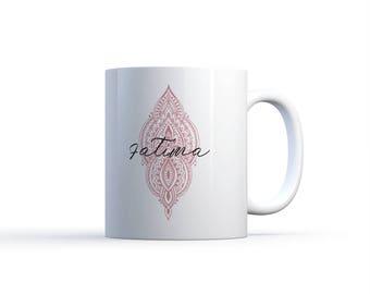"Illustration MUG ""Choice color HENNA pattern name"" french & Arabic / Nadja love"