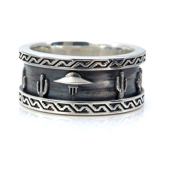 Ready to Ship Size 9 - 9.75 - Mens Roswell UFO Ring - Sterling Silver - Southwest Scene with Cactus