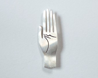 Palmistry Hand pin in Sterling Silver