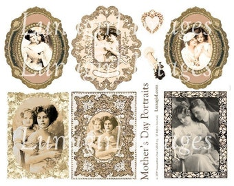 Victorian MOTHER'S DAY digital collage sheet, Vintage photos, women children, ephemera sepia pink, art tags frames, Vintage mothers DOWNLOAD