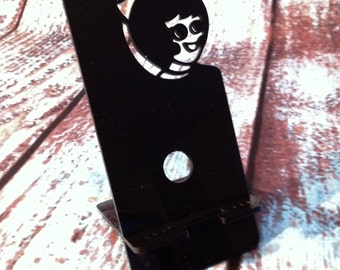 Smartphone Holder - Utz Girl - Black Acrylic  iPhone Stand, Galaxy, cellphone, collapsible display