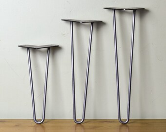 """The Original 2 Rod Hairpin Legs (4"""" - 32"""")  Kitchen, Bench or Coffee Table, Platform Bed, Desk, DIY Project Metal/Steel Legs Made in Canada"""