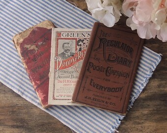 Antique Small Books Set of 3 Well Loved and Used Books Health Care