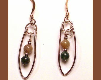 AGATE PEAPOD EARRINGS - Handcrafted Sterling Silver Dangle Earrings - Made In Maine
