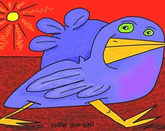 Eastern Blue Bird, Original Digital Painting, Giclee,Archival,Limited Edition