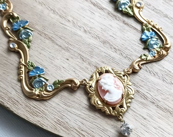 statement necklace cameo necklace victorian style filigree chain blue flower necklace whimsical fairy tale princess jewelry VERSAILLES