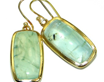 Moss Prehnite Sterling Silver Earrings - weight 10.80g - dim L- 1 1 2, W - 1 2, T- 3 16 inch - code 28-gru-17-44
