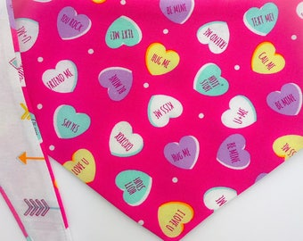 "Tie around (tie on) Pet Bandana - Size MED/LARGE - ""Conversation Hearts"" pet bandana"