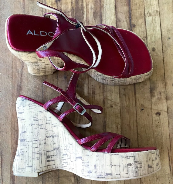 Cork Shoes Sandal 90s 5 Shoes Size Vintage Leather Retro 7 7 Red Vintage Shoes Heel Ladies Shoes Fashion Platform Heel Wedge p0Rqd7w