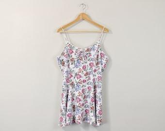 90s Floral Dress, Vintage 90s Dress, 90s Sun Dress, Sleeveless Dress, 90s Pattern Dress, Soft Grunge Dress, Spring Summer Dress