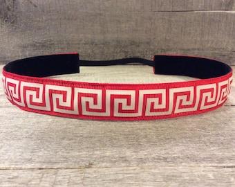 Red Greek Key Nonslip Headband, Noslip Headband, Sports Headband, Running Headband, Athletic Headband