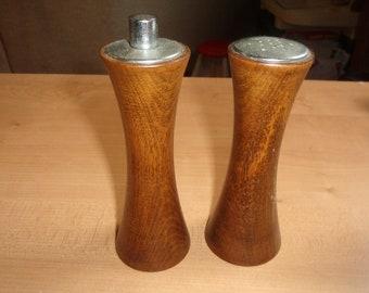 vintage pair salt pepper shakers set tall wood
