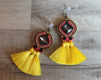 Earrings tassels. Soutache earrings handmade. Soutache earring. black and yellow,Large Bridal Earrings,handmade.ss2018
