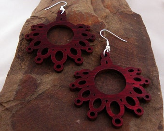 Sustainable Wooden Earrings - Dripping Loops - in Red Stained Maple