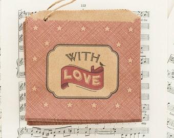 Con amore x 10 di sacchetti di carta piccolo