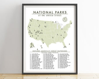 national parks map of the united states parks checklist american national parks outdoor map hiking map adventure map usa 012
