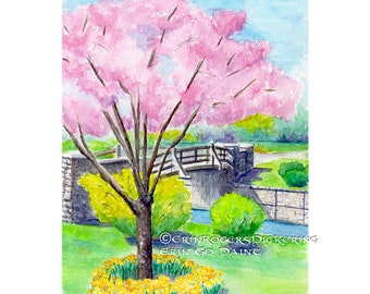 Maplewood in Bloom 8x10 fine art print of watercolor painting