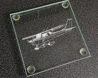 Cessna 152 Aircraft Square Glass Drinks Table Coaster