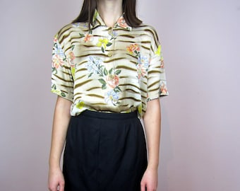 vintage ESCADA floral & animal zebra print // 100% silk satin blouse shirt // 38