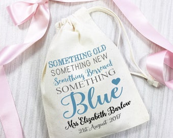 Something borrowed, something blue, personalised cotton gift bag for the Bride to be. Wedding day keepsake gift.