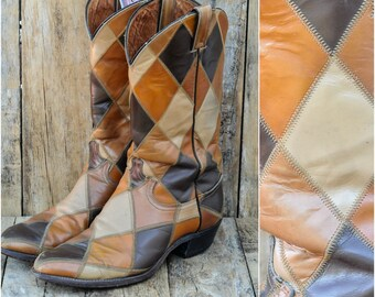 us 11 cowboy boot us 11 western boot 11 Justin boot 1960s cowboy boot 1960s western boot 44 cowboy boot 44 western boot checkered boot USA