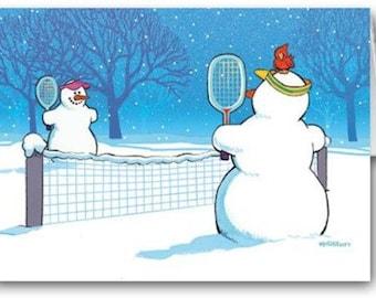 Snowman Tennis Christmas Card - Tennis 18 Cards & Envelopes - 70004