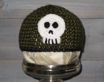 Newborn Skull Crossbones Green Crochet Hat