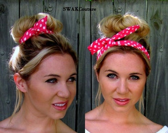 Bun Wire Wrap Rockabilly Dolly Bow Headband Pin Up Girl PonyTail Braid In - pink polka dot or Choose Your Color