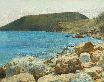 Noon in a Dvuyakornaya bay, sea oil painting, stones on the beach, Black Sea, Crimean landscape