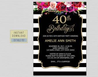 40th birthday invite etsy 40th birthday invitations for women 40th birthday invites instant download elegant black gold surprise filmwisefo