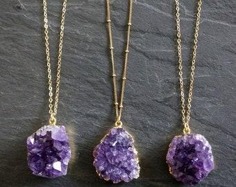 SALE / Amethyst Necklace / Amethyst Jewelry / Druzy Necklace / February Birthstone / Raw Crystal Necklace  / Gold Amethyst Druzy