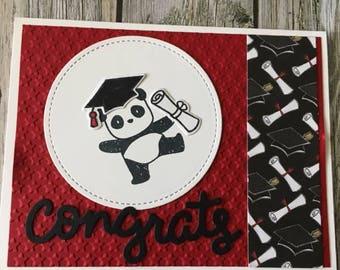 Panda graduation card-handmade graduation card-high school graduation card-college graduation card-kindergarten graduation card
