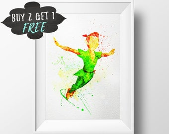 Peter Pan Wall Art Print Printable Poster, Peter Pan Wall Art Nursery Decor Watercolor, Peter Pan Party Favors, Peter Pan Baby Shower Decor