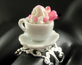 Strawberry Dessert Ring. Ice Cream Ring. Teacup Ring in White with Whipped Topping. Silver Filigree Adjustable Ring. Handmade Jewelry.